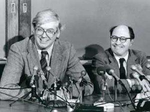 Ham Smith, left, and Daniel Nathans speak after winning the Nobel Prize.