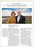 A snapshot of the front page of the Planning Matters newsletter.